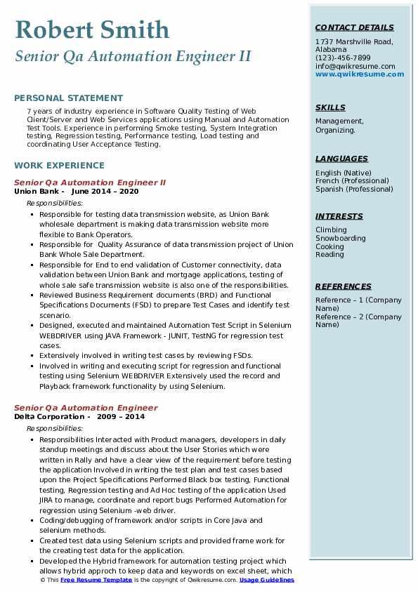 senior qa automation engineer resume samples  qwikresume