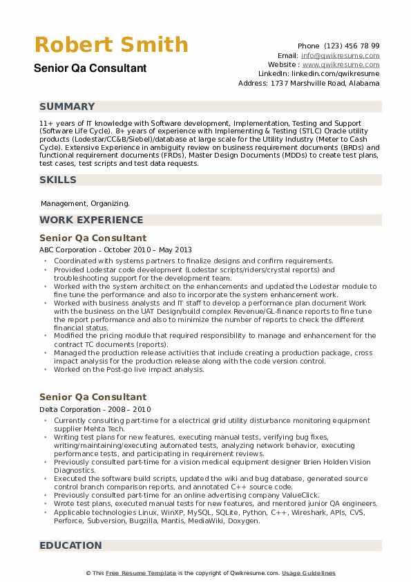 Senior QA Consultant Resume example