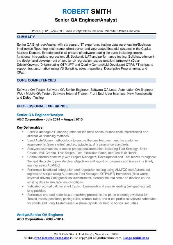 Senior QA Engineer/Analyst  Resume Format