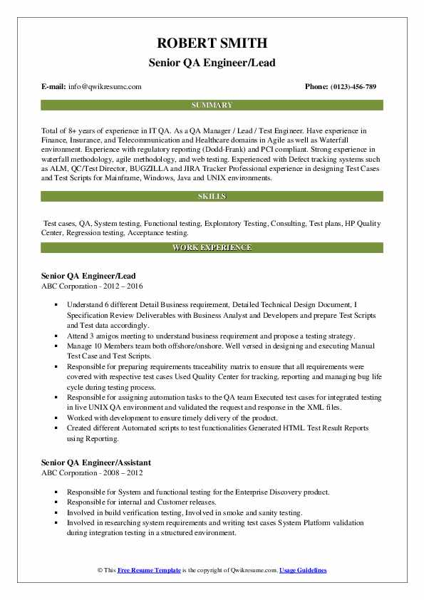 Senior QA Engineer/Lead Resume Sample