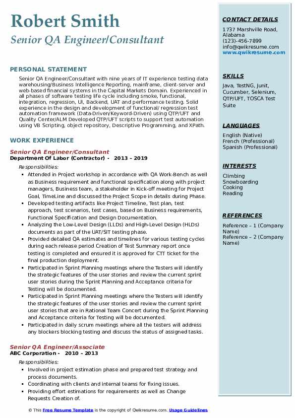 Senior QA Engineer/Consultant Resume Format