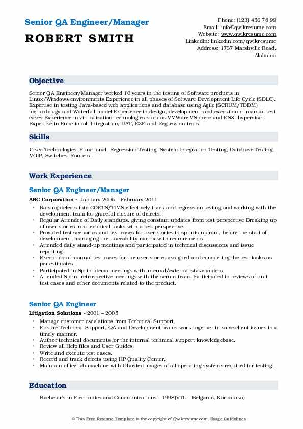 Senior QA Engineer/Manager Resume Format