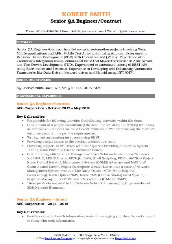 Senior QA Engineer/Contract Resume Example