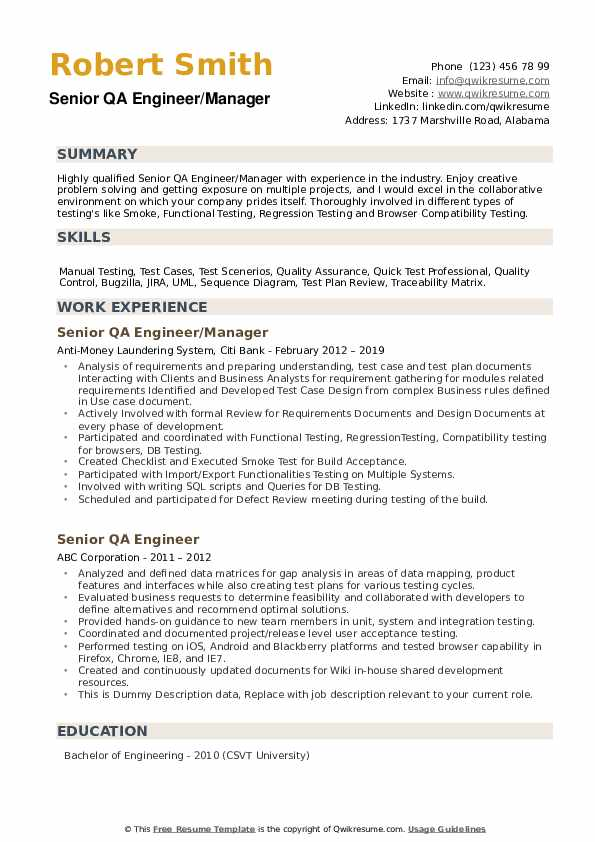 Senior QA Engineer/Manager Resume Example