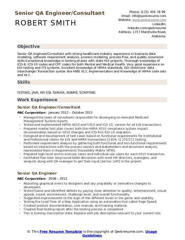 Senior QA Engineer/Consultant Resume Sample