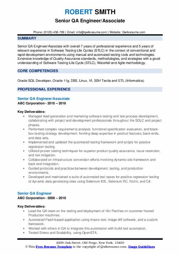 Senior QA Engineer/Associate Resume Format