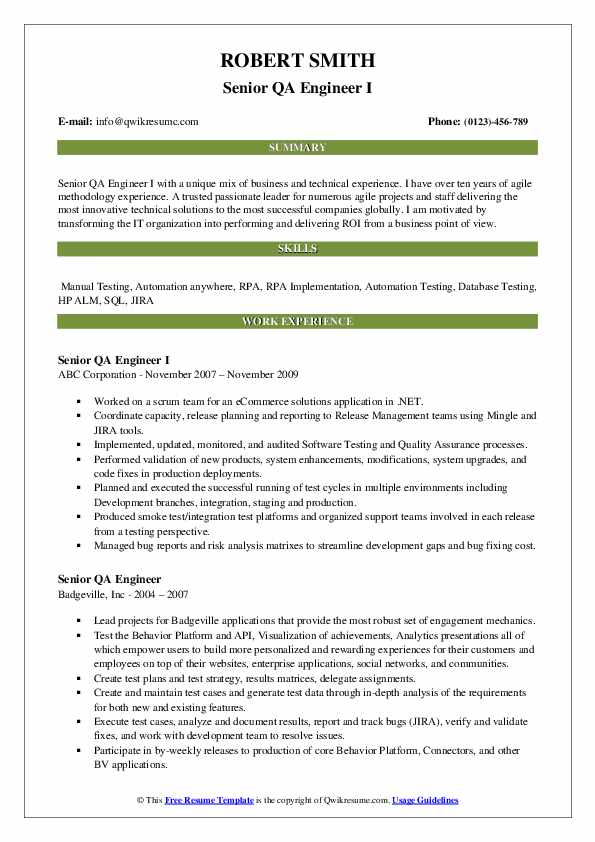 Senior QA Engineer I Resume Model