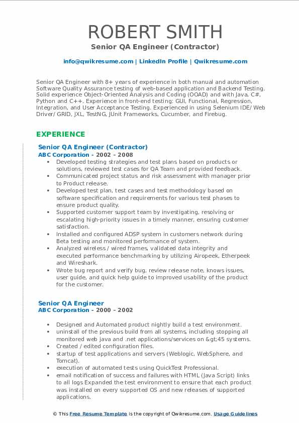 Senior Qa Engineer Resume Samples Qwikresume