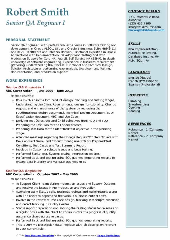 Senior QA Engineer I Resume Template