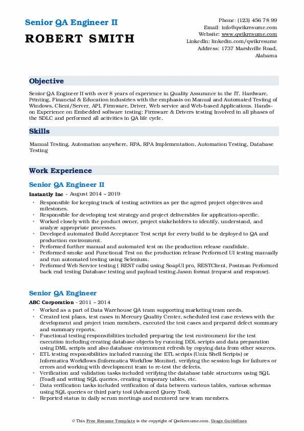 Senior QA Engineer II Resume Model