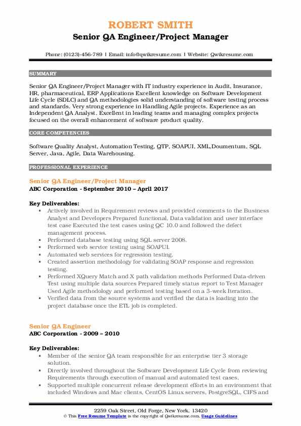Senior QA Engineer/Project Manager Resume Model