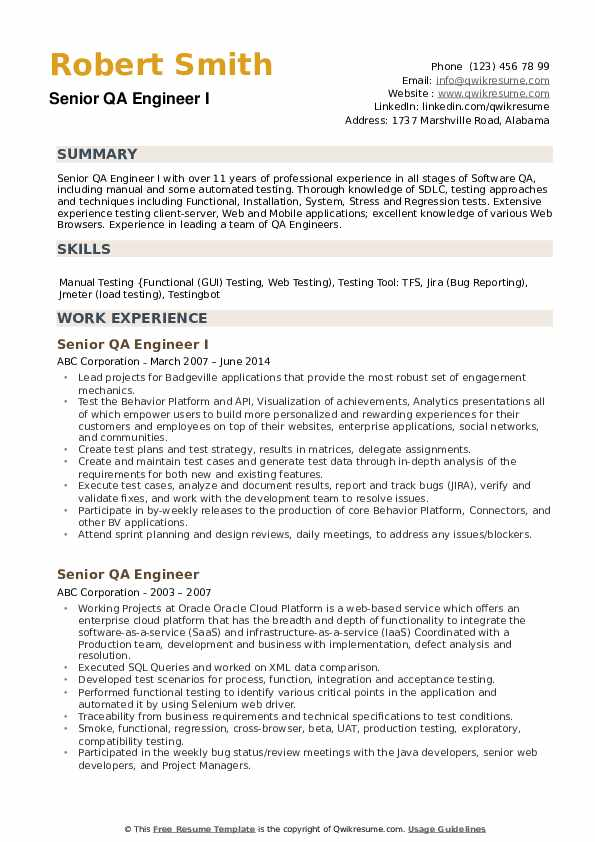 Resume Example For Qa Engineer لم يسبق له مثيل الصور Tier3 Xyz