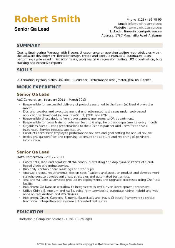 Senior QA Lead Resume example