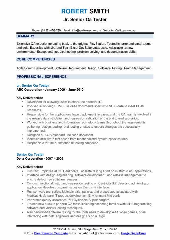 senior qa tester resume samples