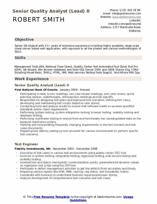 senior quality analyst resume samples