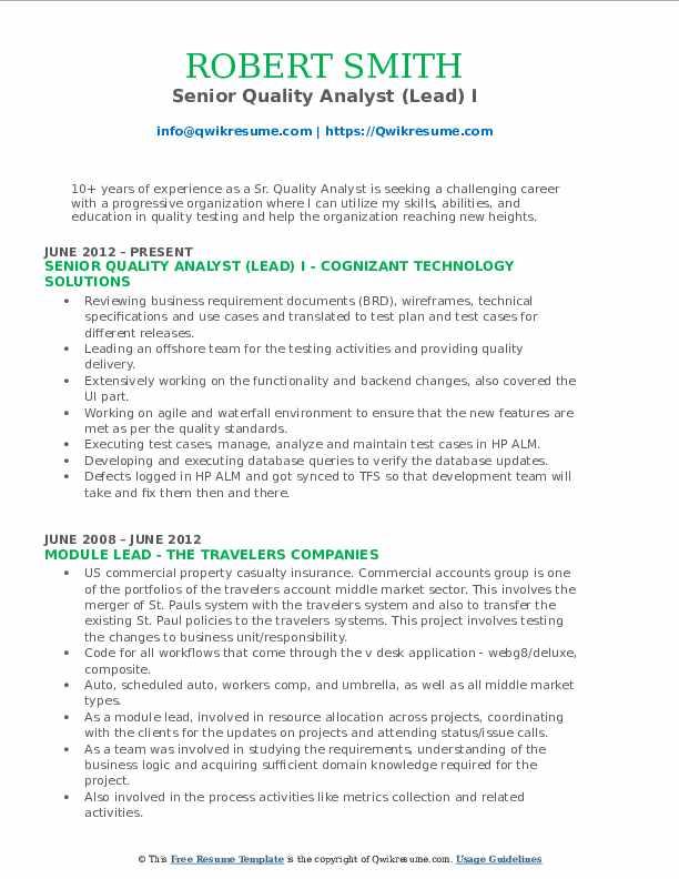 Senior Quality Analyst Resume Samples | QwikResume