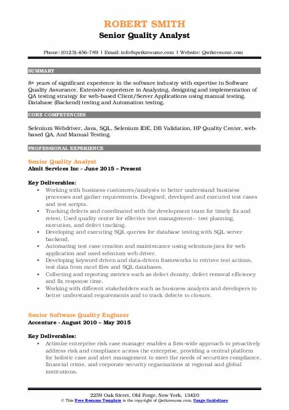 Senior Quality Analyst Resume Template