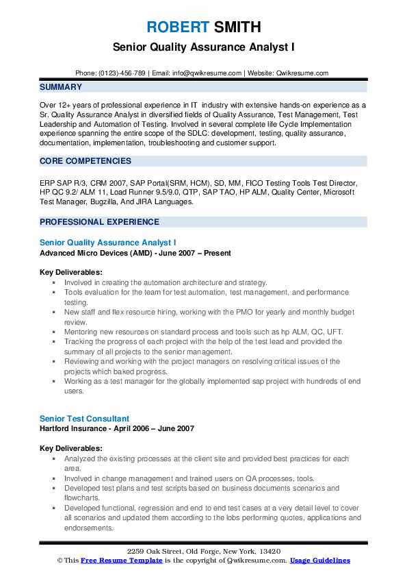 Senior Quality Assurance Analyst I Resume Model