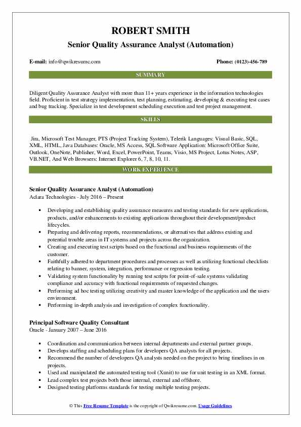 Senior Quality Assurance Analyst (Automation) Resume Template