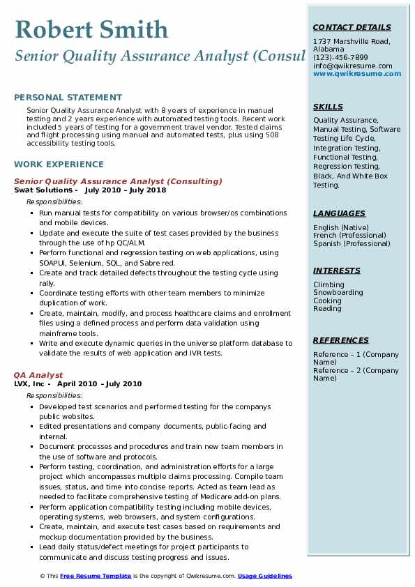 Senior Quality Assurance Analyst (Consulting) Resume Template