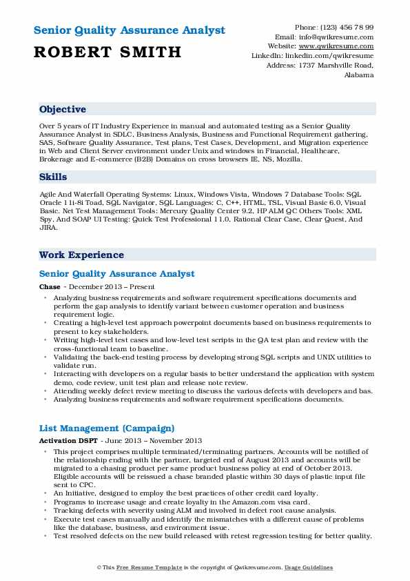 Senior Quality Assurance Analyst Resume Model
