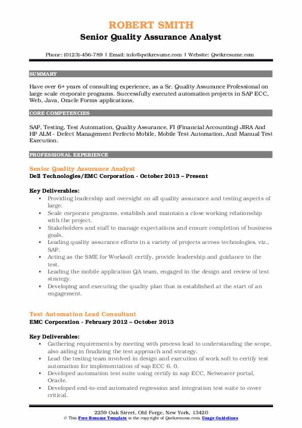 Senior Quality Assurance Analyst Resume Format