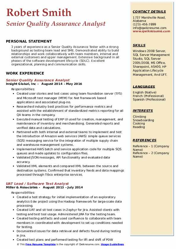 senior quality assurance analyst resume samples