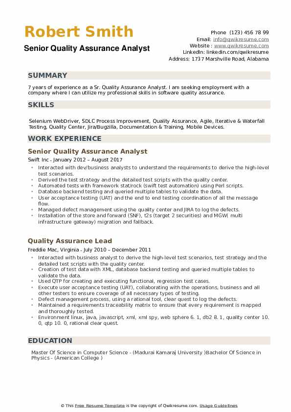 Senior Quality Assurance Analyst Resume example