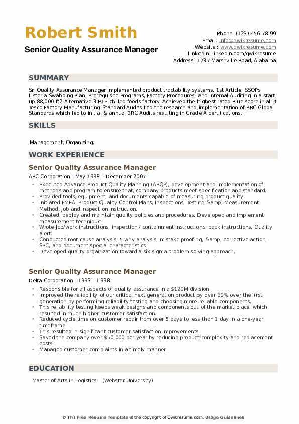 Senior Quality Assurance Manager Resume example