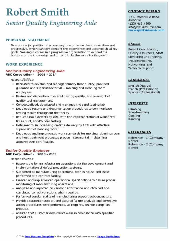 Senior Quality Engineering Aide Resume Template