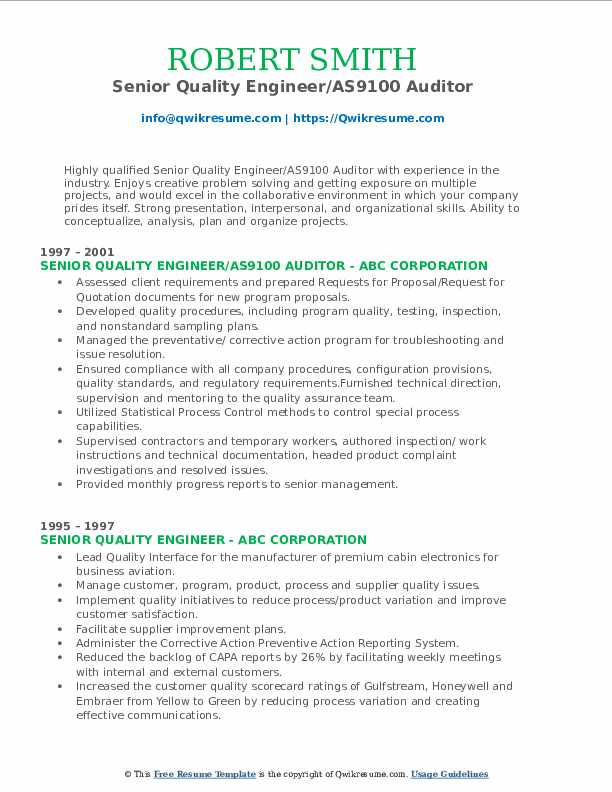 Senior Quality Engineer/AS9100 Auditor Resume Example