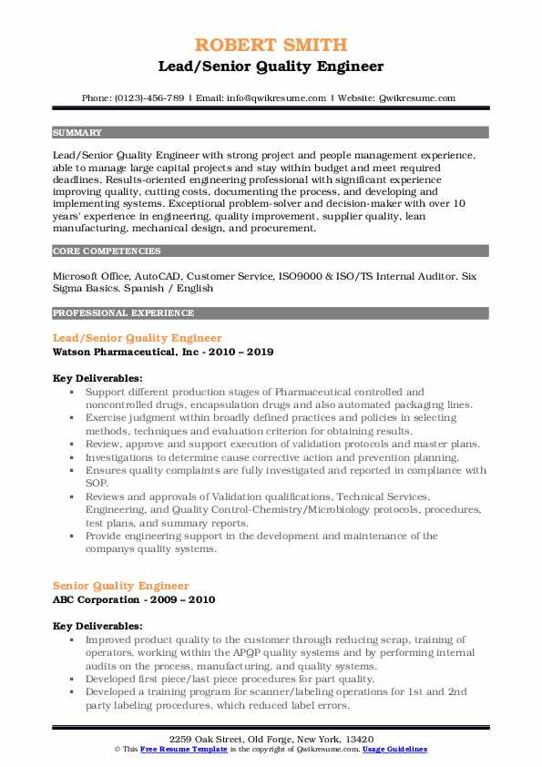 senior quality engineer resume samples