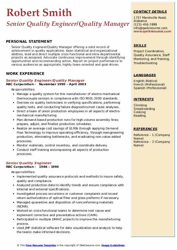 Senior Quality Engineer/Quality Manager Resume Example