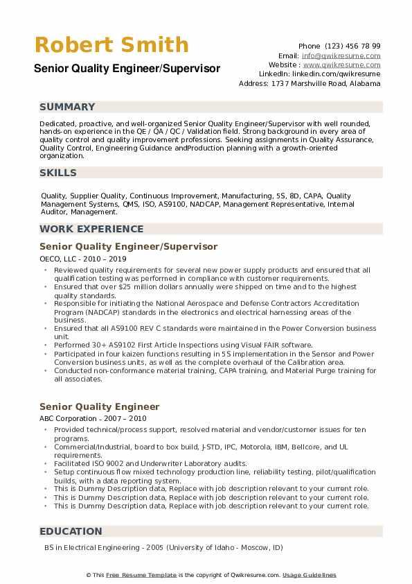 Senior Quality Engineer Resume Samples Qwikresume