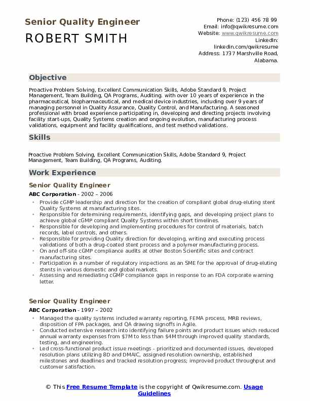 Senior Quality Engineer Resume example