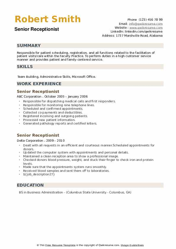 Senior Receptionist Resume example