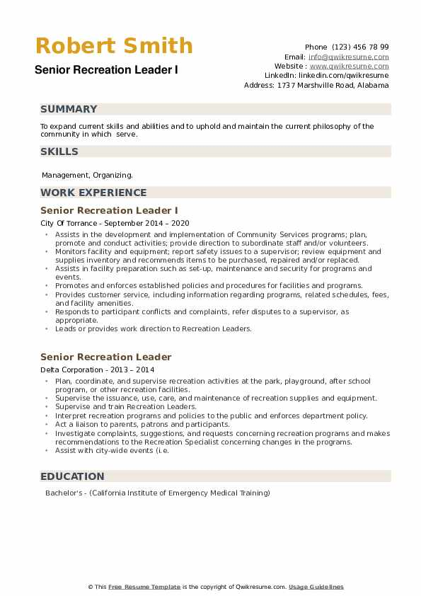 Senior Recreation Leader Resume example