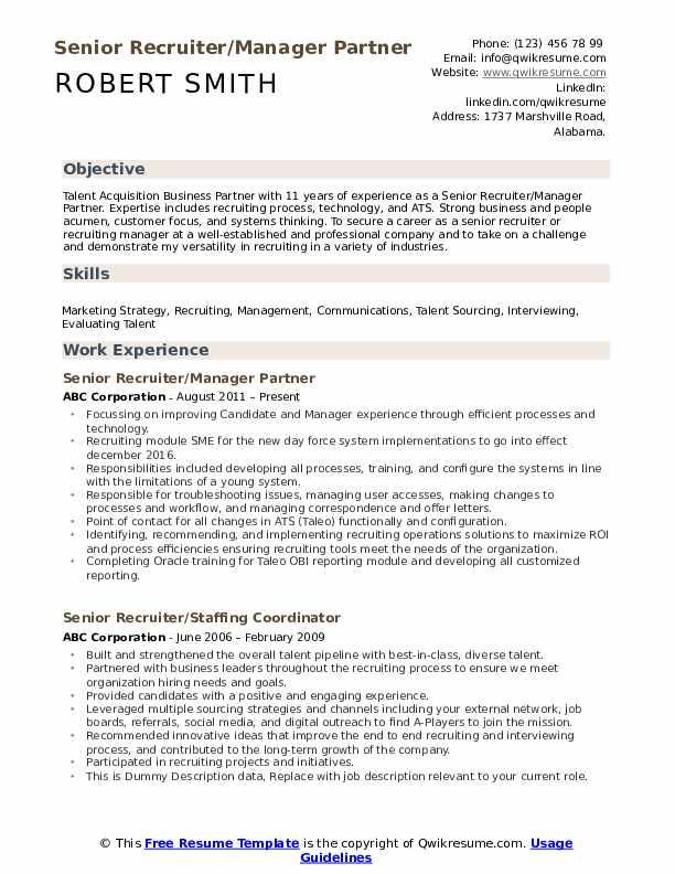 Senior Recruiter/Manager Partner Resume Template
