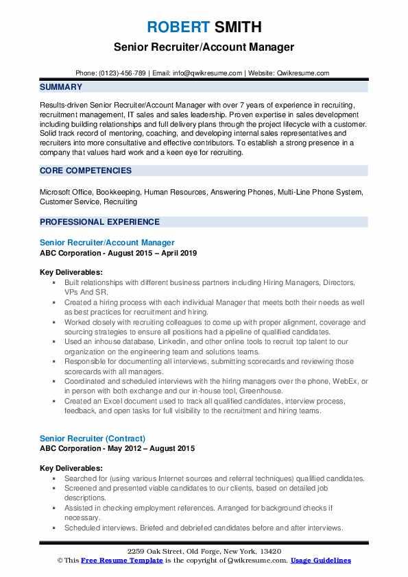 Senior Recruiter/Account Manager Resume Format