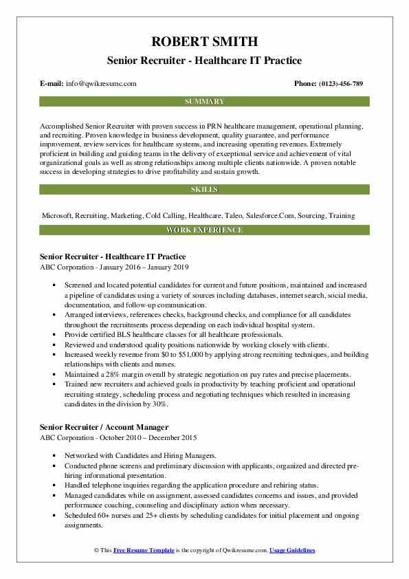 Senior Recruiter - Healthcare IT Practice Resume Sample