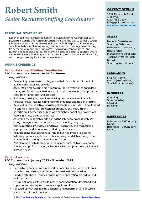 Senior Recruiter/Staffing Coordinator Resume Format