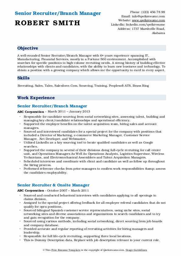 Senior Recruiter/Branch Manager Resume Sample