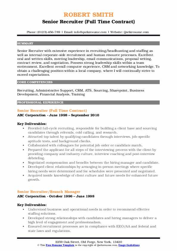senior recruiter resume samples