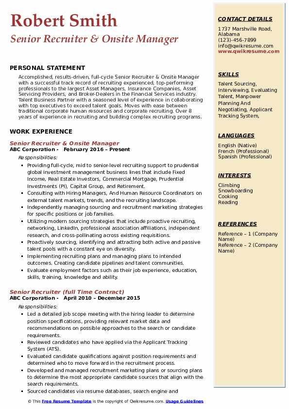 Senior Recruiter & Onsite Manager Resume Example