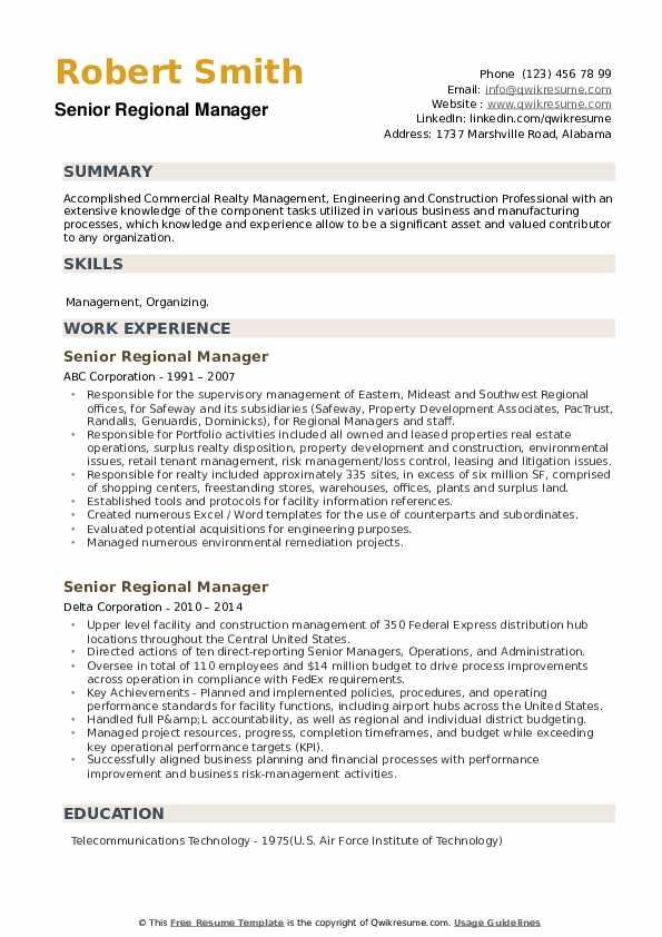 Senior Regional Manager Resume example