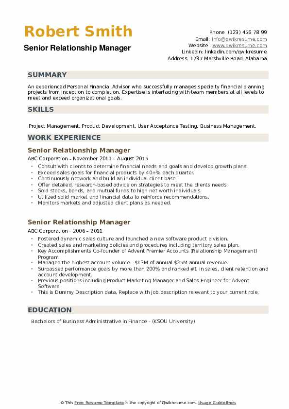 Senior Relationship Manager Resume example