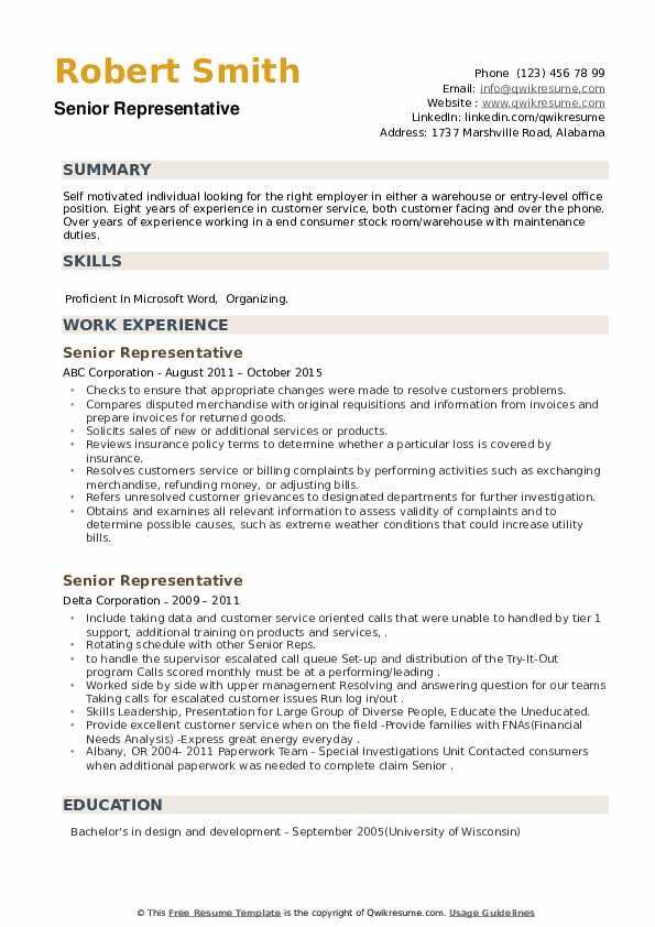 Senior Representative Resume example