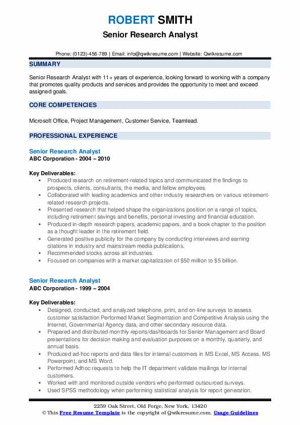 Senior Research Analyst Resume example