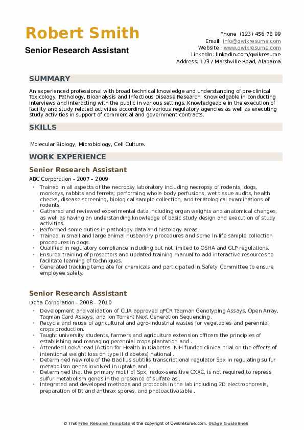 Senior Research Assistant Resume example
