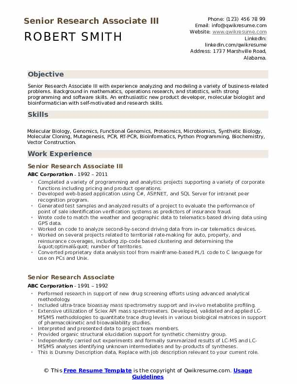 Senior Research Associate Resume example